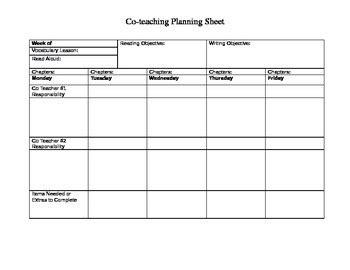 Co Teaching Planning Sheet For Ela Teachers By Kristen Henderson Co Teaching Planning Template