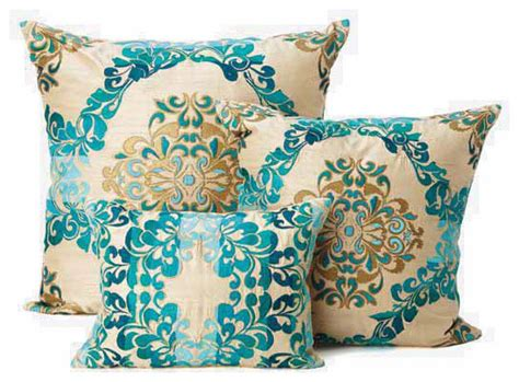 Decorative Pillows - seybert teal brocade throw pillows decorative