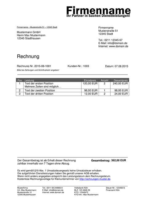 Rechnung Kleinunternehmer Ohne Steuernummer Kleinunternehmer Rechnung Rechnungsvorlagen F 252 R Kleinunternehmer