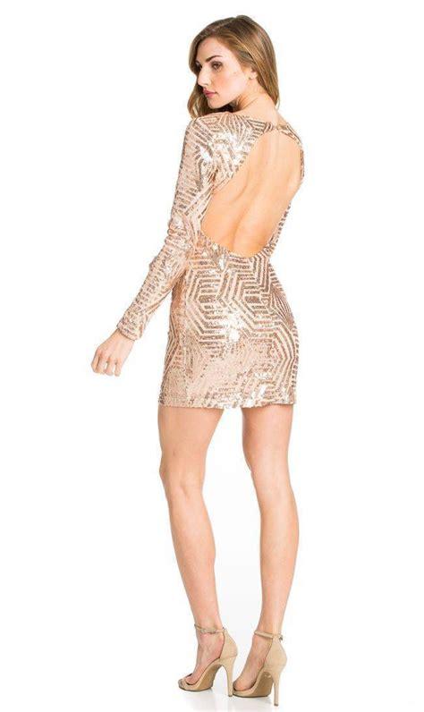 pattern gold sequin dress rose gold geo pattern sequin open back dress soho girl