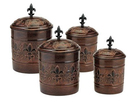 antique kitchen canisters antique copper fleur de lis kitchen canister set new