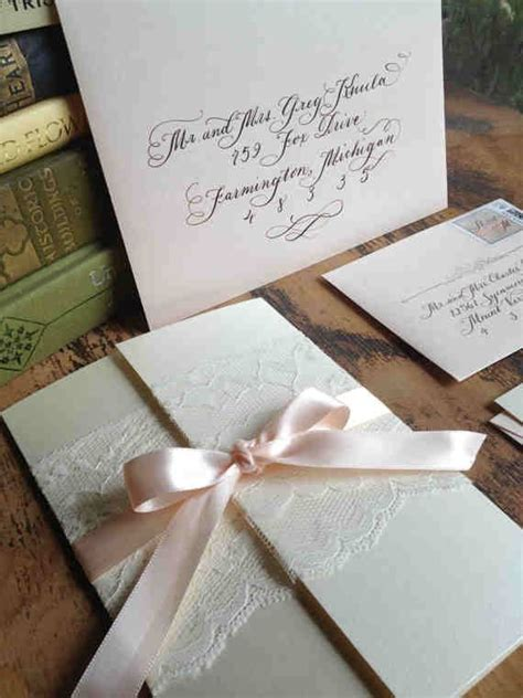wedding invitations with lace and ribbon calligraphy wedding invitation gatefold with vintage lace