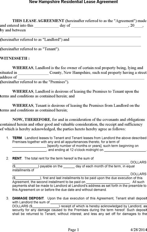 New Hshire Rent And Lease Template Download Free Premium Templates Forms Sles For Nh Rental Agreement Template