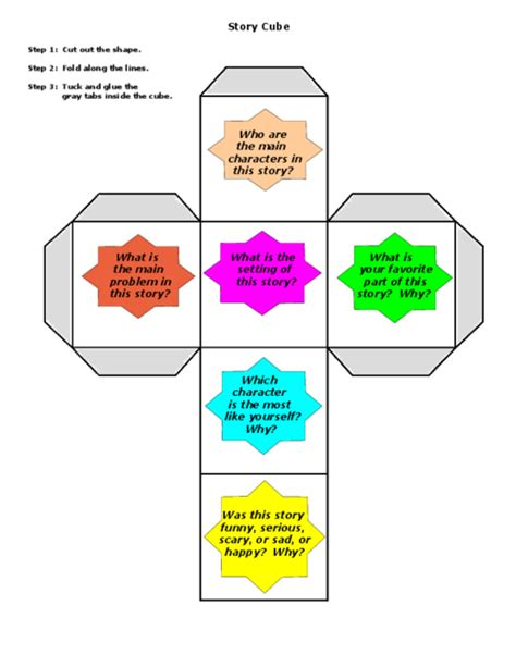 Printable Story Cube Reading Comprehension Worksheets