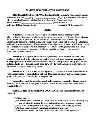master subcontract agreement template sle subcontractor agreement form 10 free documents in