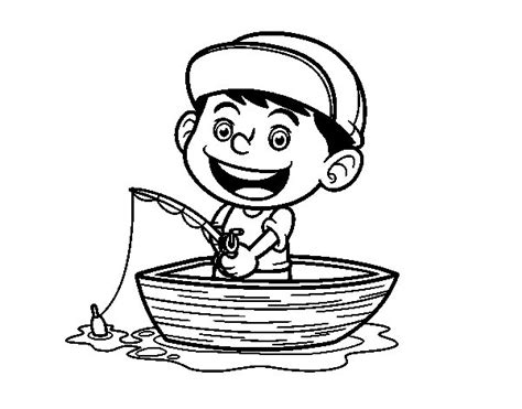 coloring page of little boy fishing little boy fishing coloring page