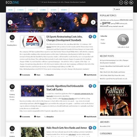 wordpress themes zonder blog ecozine gaming blog wordpress theme