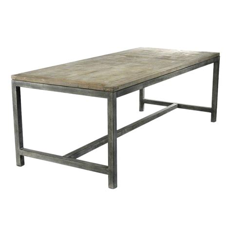Rustic Gray Dining Room Table Abner Industrial Modern Rustic Bleached Oak Grey Dining Table Kathy Kuo Home