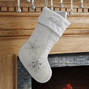 Personalized White Christmas Stockings   Christmas