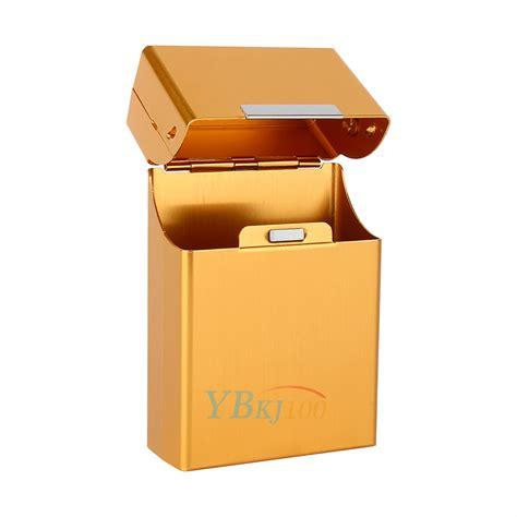 cigarette storage containers gold metal aluminum cigar cigarette box holder