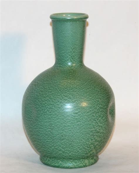Stangl Vase by Antique Arts Crafts Geranium Matt Green Leaf Pottery