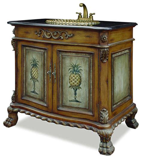 Tropical Bathroom Vanity pineapple motif vanity with granite top tropical