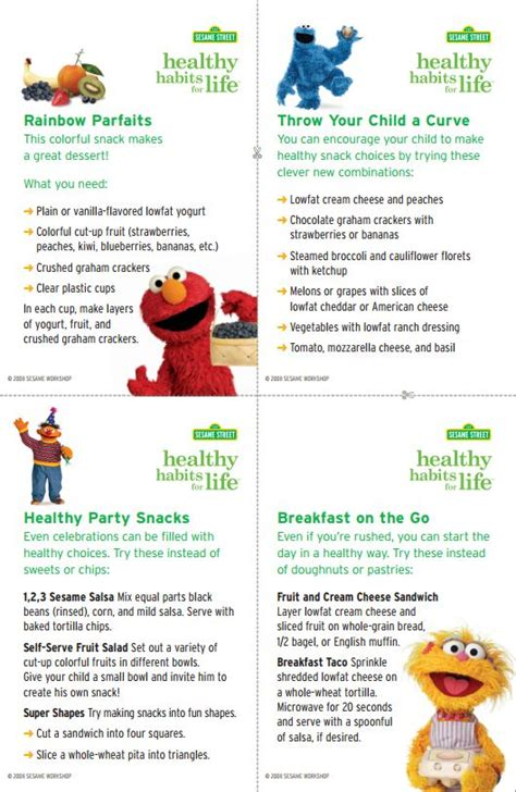 printable recipes for healthy eating print out these sesame street healthy habits recipe cards