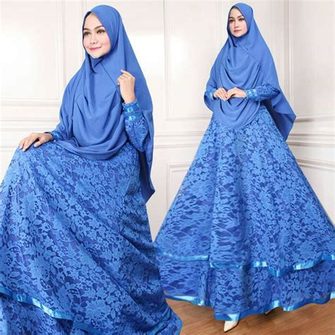Baju Gamis Syari Masa Kini model baju gamis syari brukat modern masa kini biru modelgamismodern