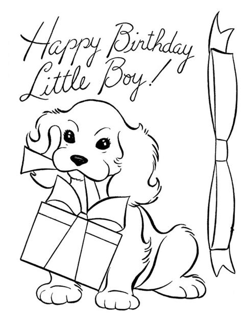 happy birthday dog coloring pages a dog and happy birthday present coloring page a dog and