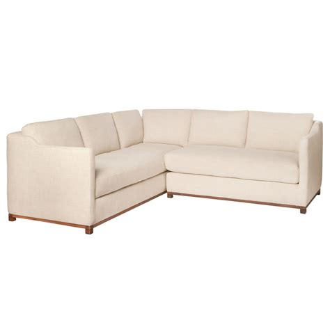 Right Arm Sectional by Kardell Mid Century Modern Beige Linen Sectional Right