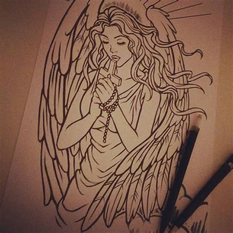 angel tattoo drawings custom design currently half way through