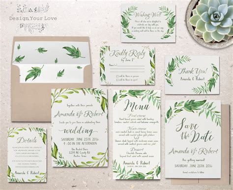 Wedding Invitations Greenery by Printable Greenery Wedding Invitation Suite Green Wedding