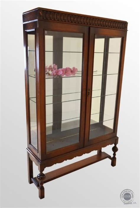 glass mirrored china cabinet antique oak large glazed display case mirrored china