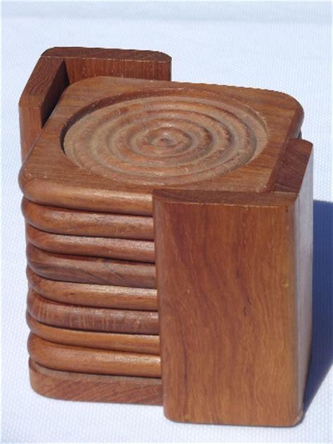 Retro danish modern Dolphin teak wood coasters, mod