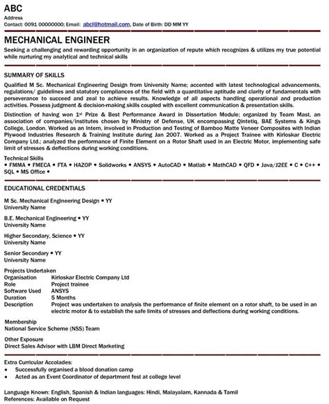 mechanical engineer resume exles mechanical engineer resume for fresher mechanical