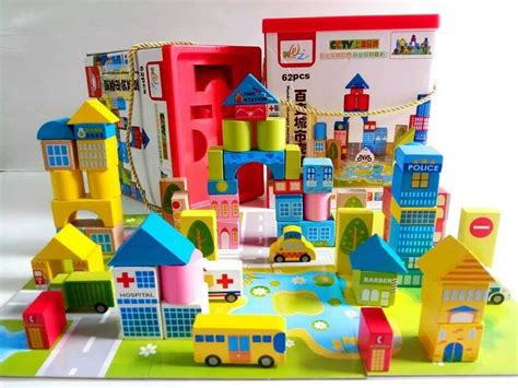 Puzzle Infantinobuild A Town wooden toys box kitchen plans block town puzzle