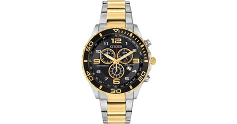 citizen s chronograph eco drive two tone stainless