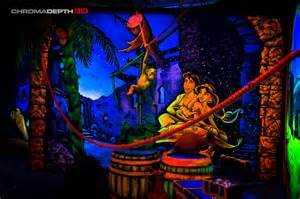 chromadepth 3d hand painted mural airbrush fluorescent artist paints rooms with murals that glow under blacklight