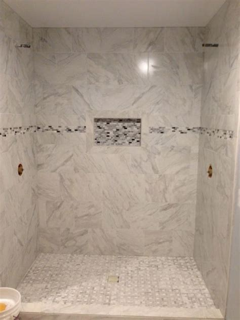 bathroom tile ideas lowes my shower is almost finished porcelain quot marble quot tile shower floor from lowes and border