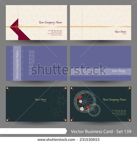 Vector Business Card Template Set Japanese Oriental And Kimono Pattern Graphic Design Elements Japanese Business Card Template