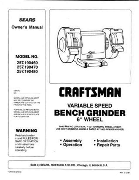 craftsman variable speed bench grinder 257 craftsman 6 inch variable speed bench grinder 1987