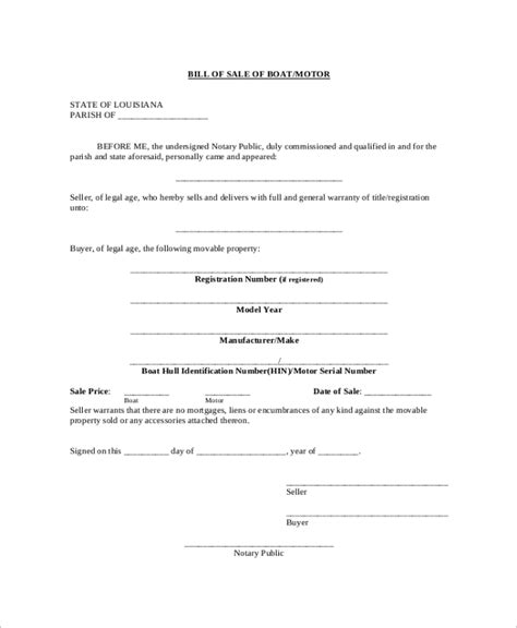 blank bill of sale for boat and trailer boat bill of sale template shatterlion info