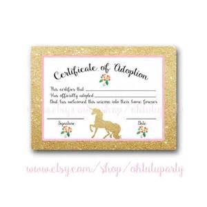custom order unicorn adoption certificates certificate of