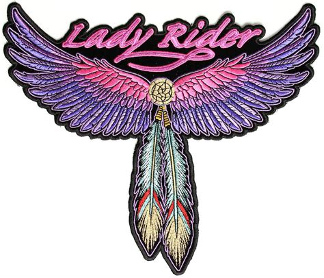 Patchwork Patches - rider pink wings and feather large biker back patch