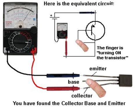 mosfet transistor how to test wiring schematic diagram guide finding the collector and emitter set the meter to x10k