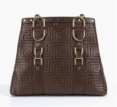 Couture Tinsley Leather Handbag by Gianni Versace Couture Brown Quilted Leather Gold Hardware