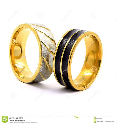 silver black gold wedding rings wedding rings gold silver and black and silver stock