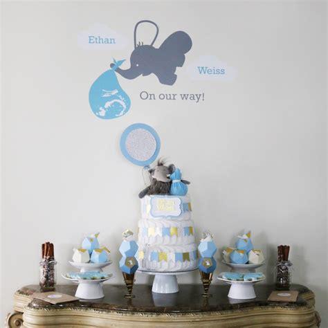Baby Elephant Baby Shower Decorations by Kara S Ideas Geometric Blue Gold Elephant Baby Shower