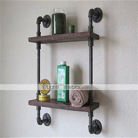 vintage wrought iron pipe tier metal bathroom shelf