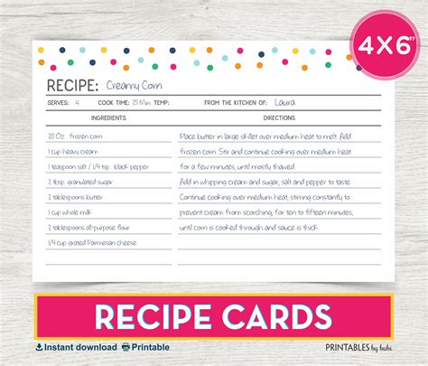 4x6 Printable Recipe Card Template by Recipe Card 4x6 Recipe Card Printable Recipe Recipe Cards