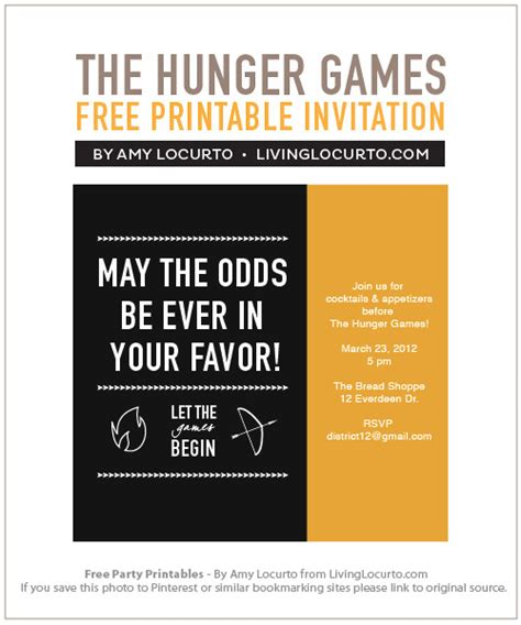 printable hunger games birthday invitations the hunger games party free printables