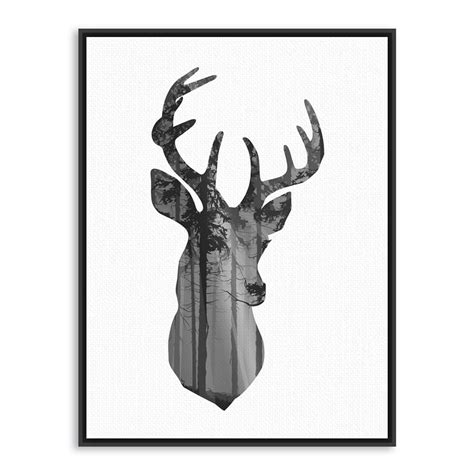 azqsd nordic vintage large art print poster deer head nordic vintage black white deer head animals silhouette a4