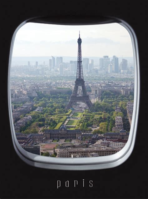 Airplane Wall Sticker airplane window view wall poster view over paris skyline