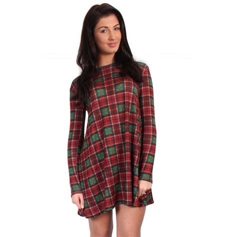 tartan swing dress tartan checked long sleeve swing dress from parisia