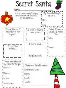 secret santa template secret santa questionnaire for teachers by o neal