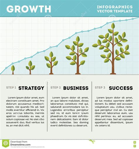 strategy tree template green tree and plant timeline diagram infographics vector