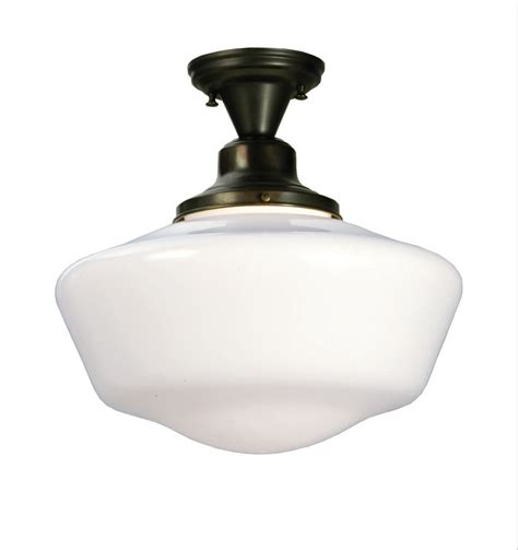 Schoolhouse Light Fixtures Meyda 30268 Schoolhouse W Globe Semi Flush Ceiling Fixture