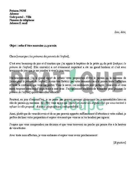 Demande De Parrainage Lettre Lettre De Refus Pour 234 Tre Parrain Ou Marraine Pratique Fr