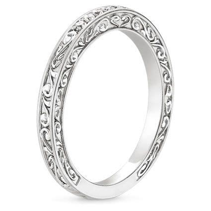 delicate antique scroll ring in 18k white gold
