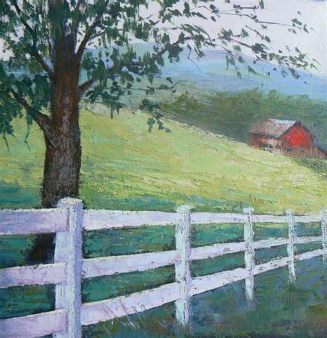 rural landscape farm painting original barn